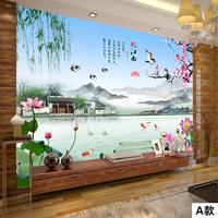 塞拉维无缝大型壁画3d中式山水江南风景电视背景墙壁纸影视墙墙布