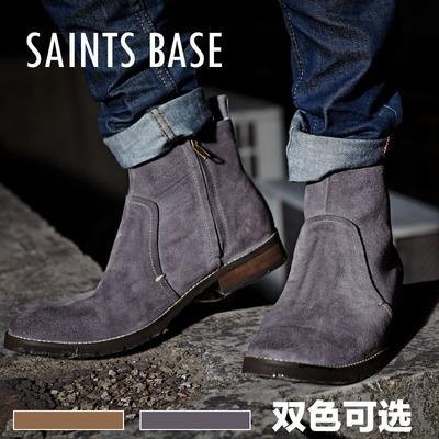 秋冬款切尔西男士短靴 潮流侧拉链马丁靴牛皮机车靴 复古英伦皮靴