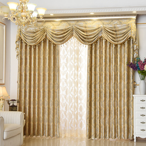 欧式风格大气窗帘遮光遮阳窗幔水波帘头客厅卧室别墅成品定制