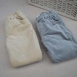 冬款男童女童儿童打底裤加绒平绒铅笔裤修身款保暖内加绒纯棉弹力