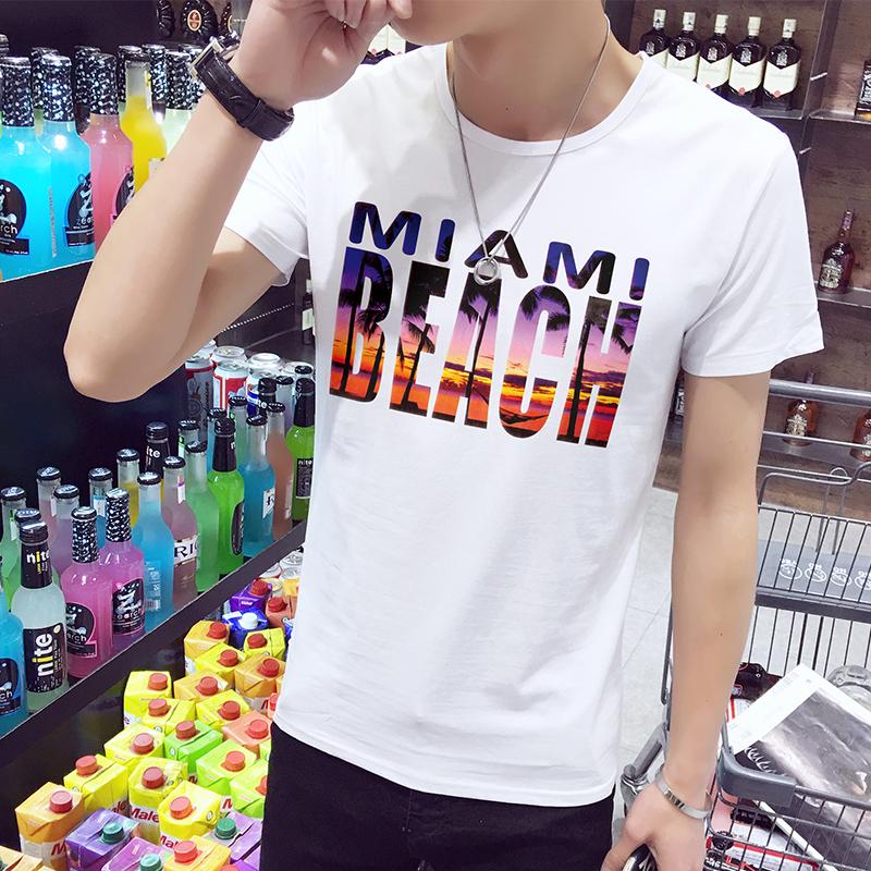 夏装韩版印花男士短袖T恤 圆领半袖体恤白色t桖修身潮流上衣服