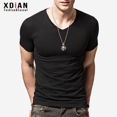 续点男士短袖t恤男款V领修身体恤紧身打底衫运动纯棉半袖上衣夏季