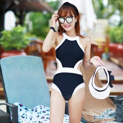 韩国黑白高领保守显瘦遮肚性感露背大小胸聚拢修身温泉连体泳衣女