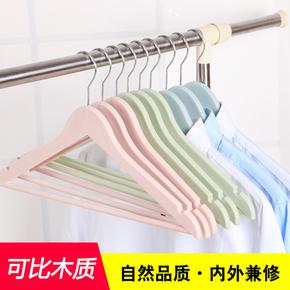 10个家用塑料成人衣架批发仿实木木质衣服撑子服装店防滑无痕衣挂