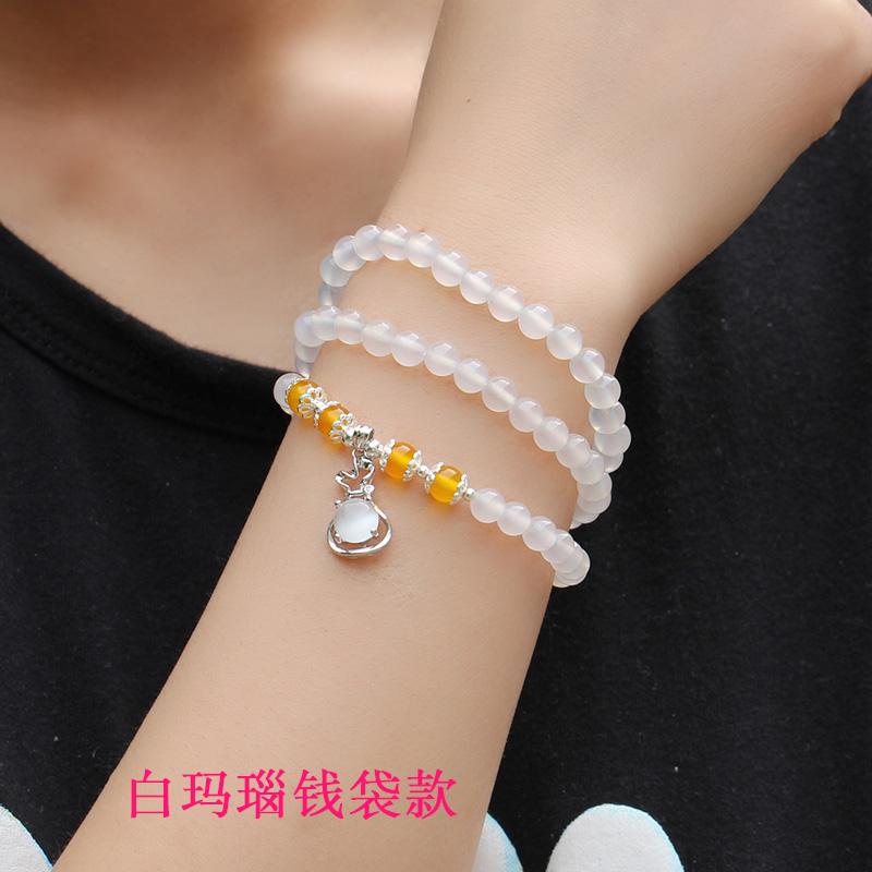 白色玛瑙佛珠手链