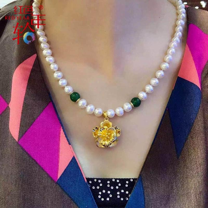 黄金玫瑰花吊坠女3D硬足金999珍珠项链锁骨送女友母亲节礼物