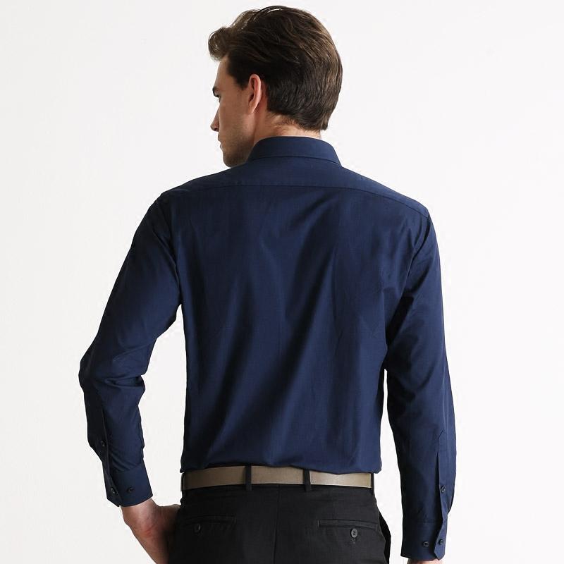 富绅Virtue斯文纯色易打理商务长袖衬衫男士免烫修身正装衬衣
