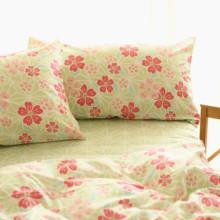 小米馍馍薄荷绿红色小花朵田园风床上用品纯棉床单床笠被套四件套