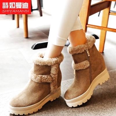 时尚雪地靴侧拉链交叉绑带坡跟防水台休闲深卡其布靴子女鞋