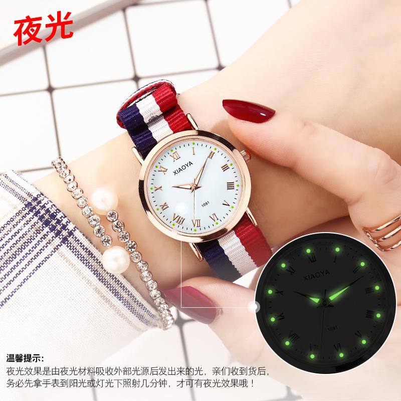 韩版简约英伦风尼龙带夜光学生情侣手表一对时尚潮流石英男表女表