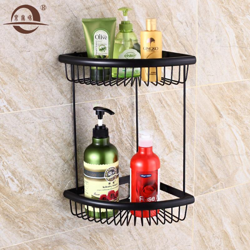复古卫生间仿古浴室黑色美式置物架