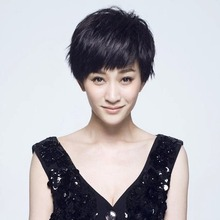 Li Xiaoran, real hair wig, handsome girl, short hair, Bobo head, fluffy, lifelike fashion mother, middle-aged and old hair set.
