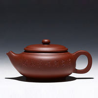 Zisha pot handmade classic authentic bottom clear large 450cc lettering carved teapot tea set