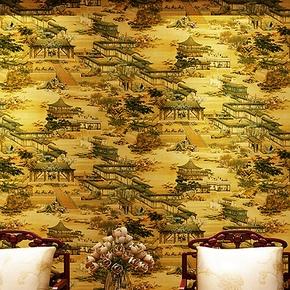 清明上河图墙纸 玄关山水画金箔金色KTV饭店餐厅古典中式装修壁纸