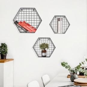 北欧墙上置物架创意格子 客厅卧室墙面装饰铁艺壁挂悬挂网格书架