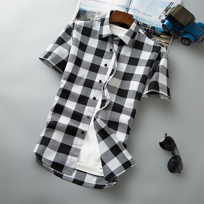 黑白格短袖衬衫