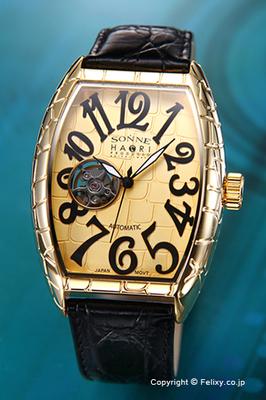 日本代购sonne男士潮流酒桶型石纹表盘真皮表带机械手表性价比高吗