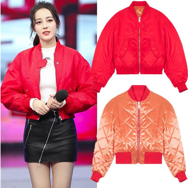 红色棉服外套宋茜唐嫣加厚飞行衣棒球服女 快乐大本营迪丽热巴同款