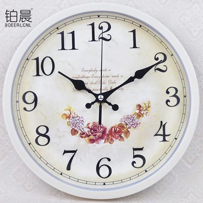 铂晨欧式静音挂钟客厅卧室办公时钟简约时尚挂表现代创意石英钟表是什么档次