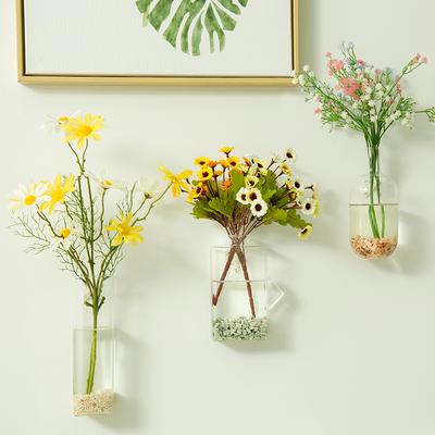 创意个性墙上水培花瓶摆件玻璃透明干花插花小清新墙壁装饰品挂件