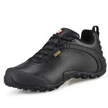 Spring and Autumn sneakers, men's shoes, leather waterproof traceable shoes, breathable and non-skid outdoor hiking shoes, cross-country men's and women's shoes