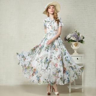 16年夏季雪纺连衣裙修身优雅中长款连衣裙女装女夏装连衣裙清仓