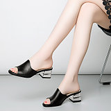 Summer models wear sandals and slippers women's thick with fish mouth shoes leather sandals leather word drag casual with large size women's shoes