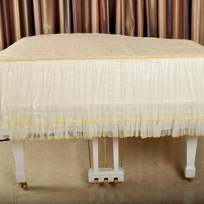 烨新园 米黄色蕾丝绣花三角钢琴罩全罩 欧式布艺三角琴钢琴罩