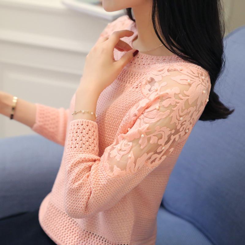 女短款镂空针织衫女装薄套头衫