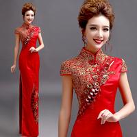 金色蕾丝花朵新娘结婚敬酒服婚礼红色旗袍礼服新娘演出装1052