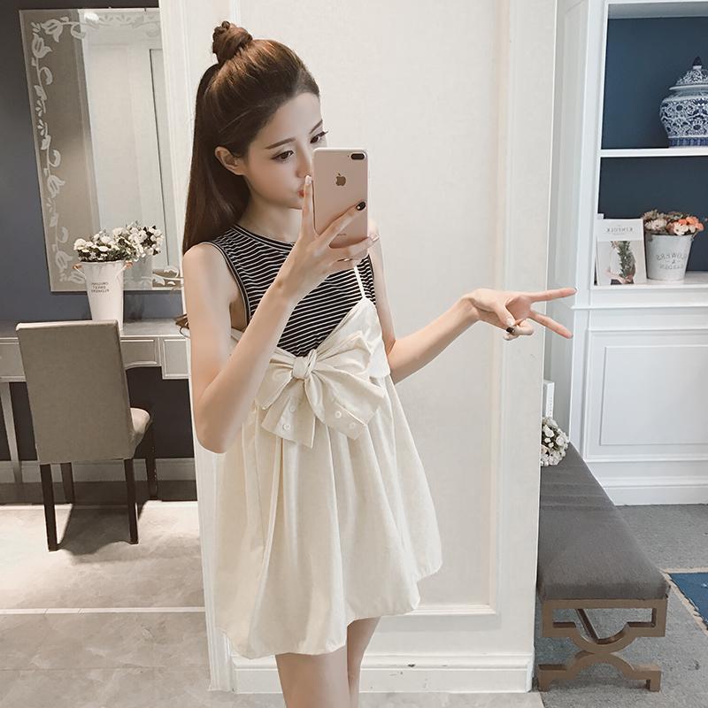 无袖条纹公主连衣裙
