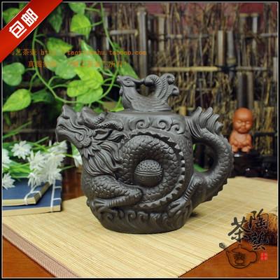 茶壶大容量龙壶龙凤呈祥龙龟大龙凤壶紫砂朱泥壶浮雕茶具510ml