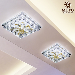 LED正方形水晶过道灯射灯走廊灯阳台灯门厅灯创意吊顶吸顶灯具