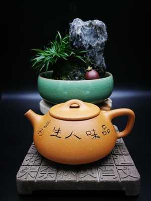 鸿薇茶行宜兴紫砂壶茶具茶壶卢宁刚石瓢壶品味人生150cc蟹黄段泥