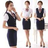 Managers summer wear vest dress suit frock stewardess uniforms hotel reception overalls skirt Bank