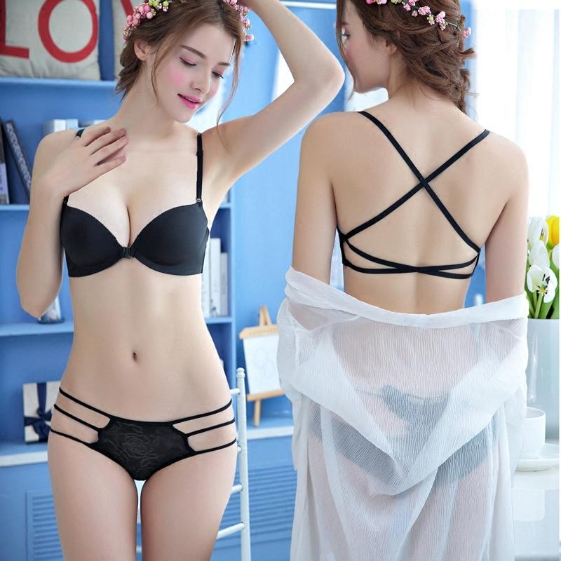 韩莲娅美背前扣无钢圈性感聚拢无痕文胸罩少女士厚薄款夏季内衣