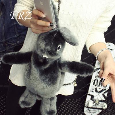 卡通可爱小兔子女包2015冬季新款小包包毛绒个性毛毛包单肩斜挎包