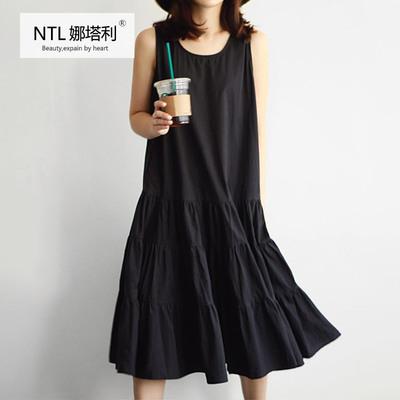 连衣裙女夏2018新款韩版小黑裙背心蛋糕裙宽松无袖ins超火的裙子