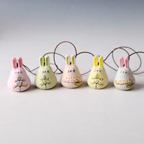 景德镇陶瓷风铃车挂手绘乖乖兔挂件汽车风铃挂饰创意风铃日式