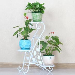 欧式铁艺创意多层花架绿萝实木花架子阳台客厅室内落地花盆架