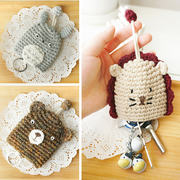 Korea's new fashion key bag female cute cartoon cute animal wool pull key package