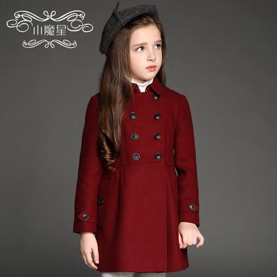 秋冬季新款女童中长款呢大衣加厚儿童装中大童双排扣毛呢外套风衣