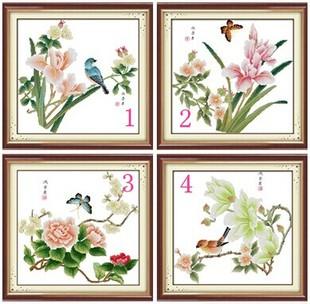 新款印花淡雅四季十字绣中国风植物花卉玉兰花和小鸟蝴蝶恋花客厅