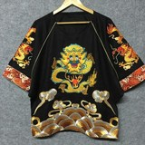 Yaobyman embroidered loose men and women with dragon robe bat sleeve scinatiwick, original designer menswear brand