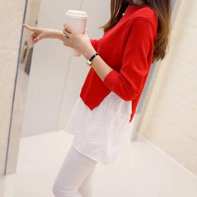 弦丽秋装新款女装韩版假两件拼接碎花针织衫中长款宽松毛衣外套女