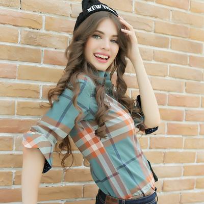 2018春季新款长袖格子衬衫 女衬衣磨毛百搭韩版修身大码女装外套
