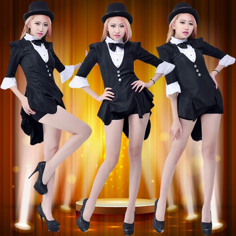 舞台时装性感舞蹈服演出服爵士舞服装女现代舞燕尾服成人舞表演服