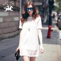 清仓断码特价女装夏季网纱镂空连衣裙女中长款直筒半高领短袖时尚