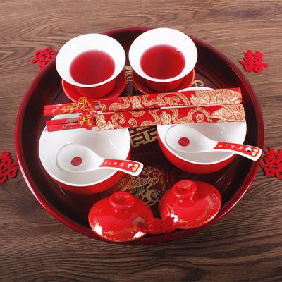 串串喜 婚庆陶瓷龙凤碗婚庆喜碗喜杯喜筷敬茶杯套装结婚礼物碗筷