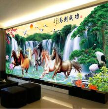 八骏图十字绣八匹马2018新款 马十字绣马到成功2.5米 线绣大幅客厅